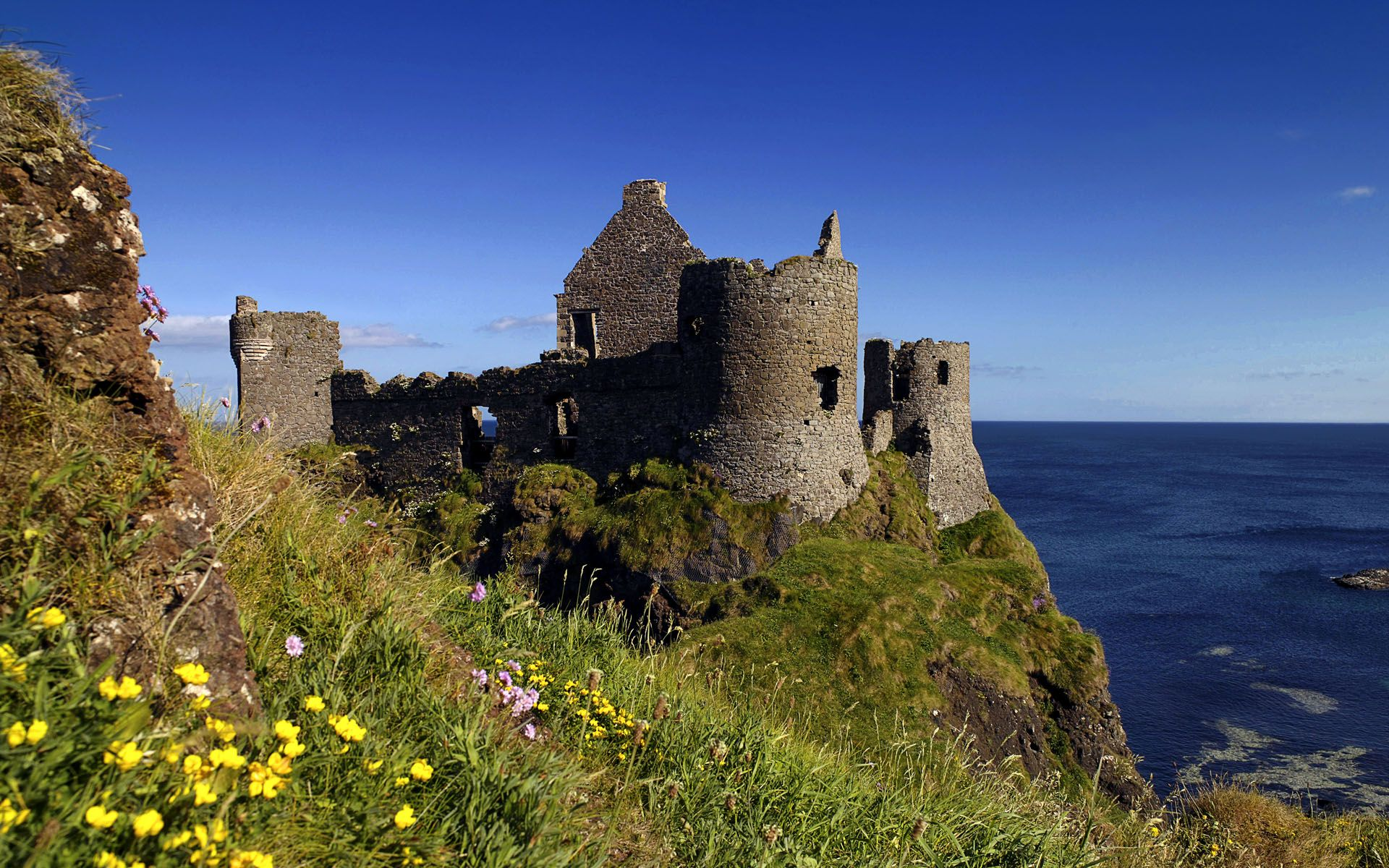 Belfast Northern Ireland Ruins of Dunluce Castle Antrim 1920x1200