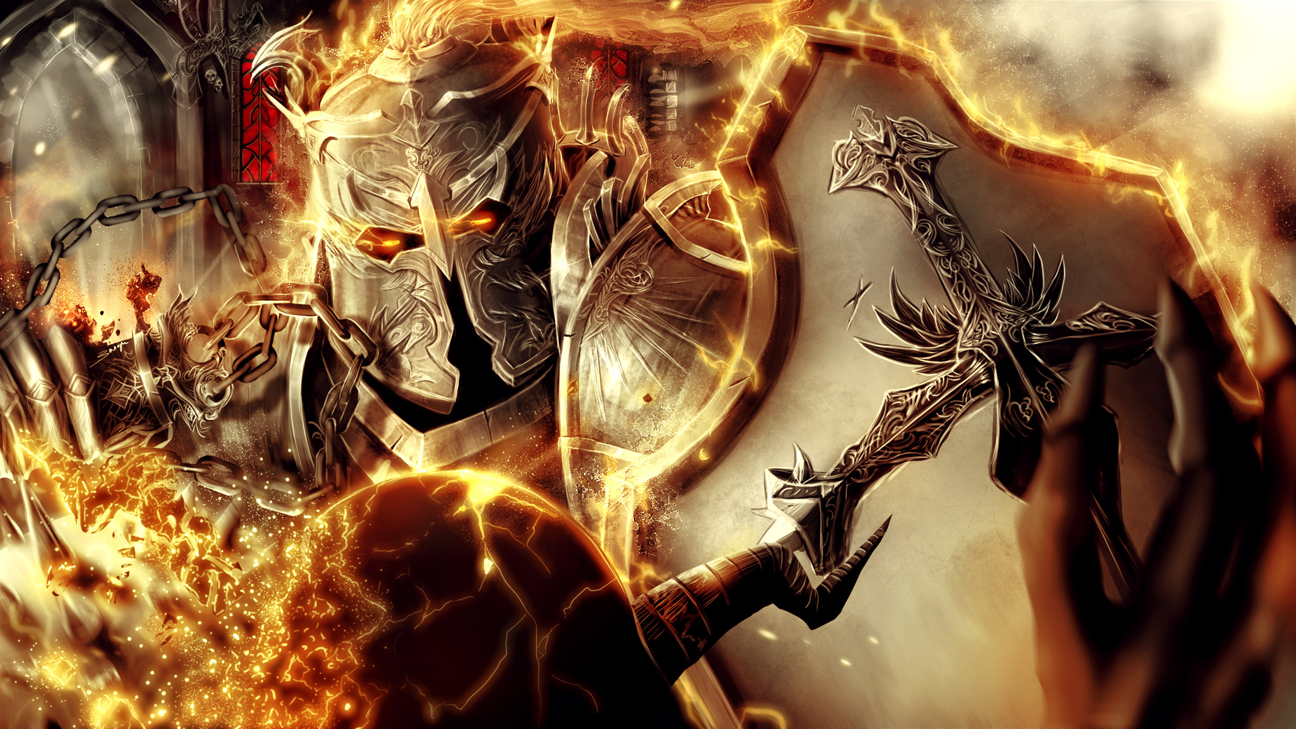 warrior fantasy art fire armor wallpaper wallpapers walls 2560x1440