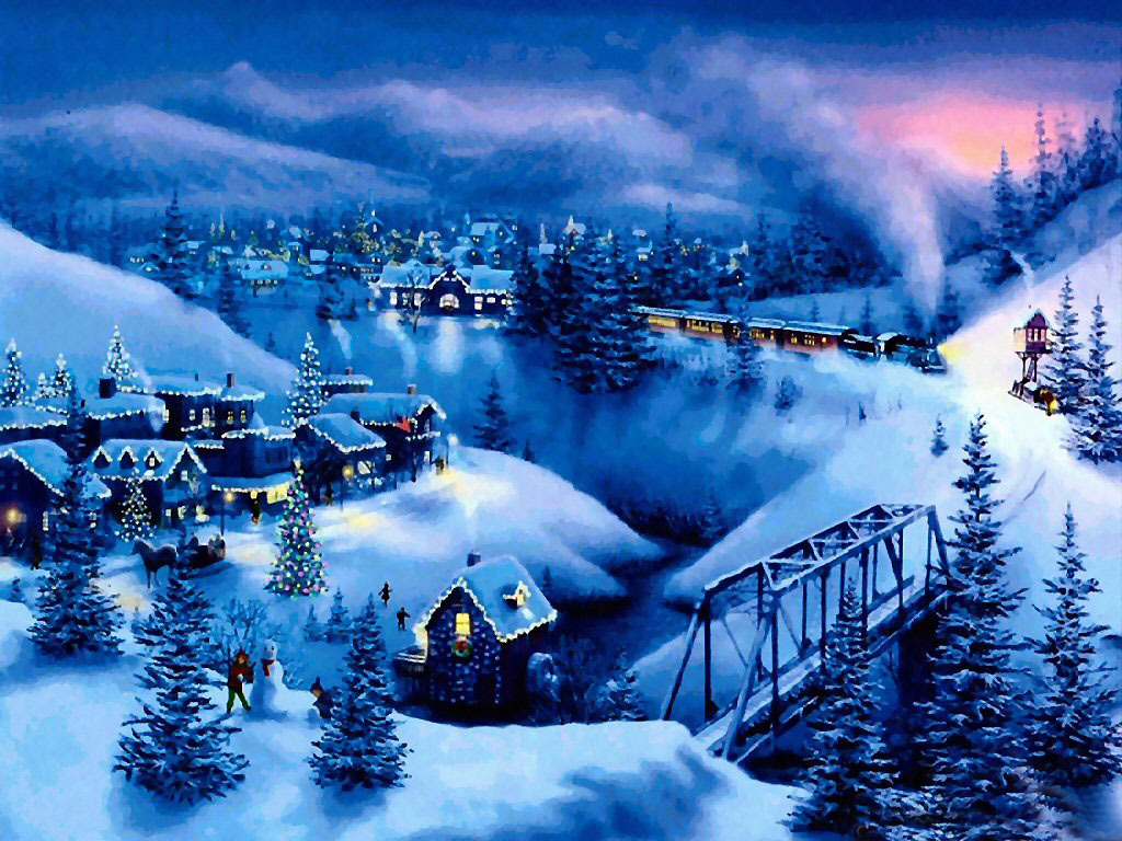 Christmas Desktop Wallpapers Snow Christmas Mountains Wallpaper 1024x768