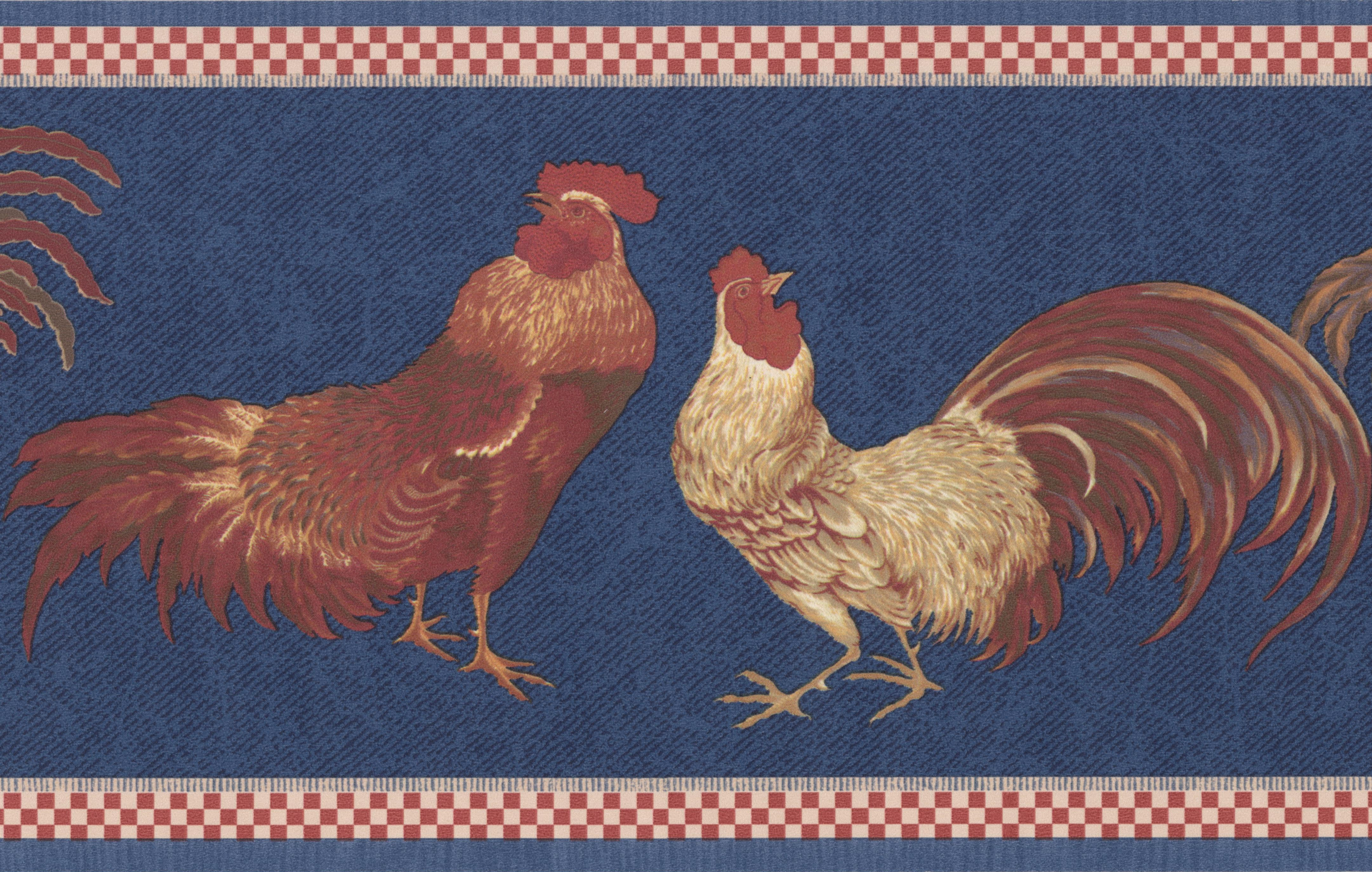 Beige Red Rooster Blue Wallpaper Border Retro Design Roll 15 x 7 4323x2747