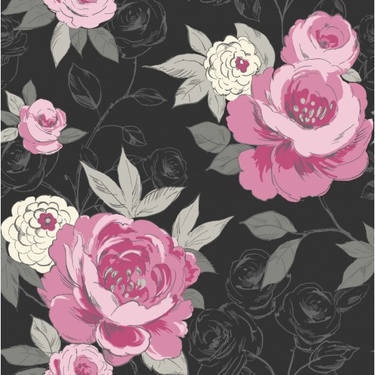 Home By Style Fl Ci Black Pink Wallpaper