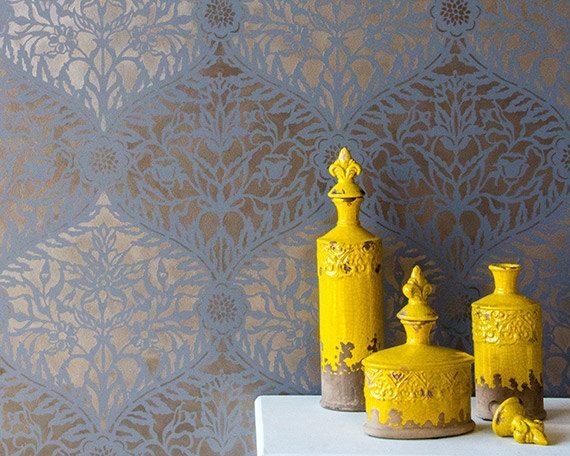 Moroccan Mughal Trellis Stencil for Wall Stenciling and Wallpaper Dec 570x456