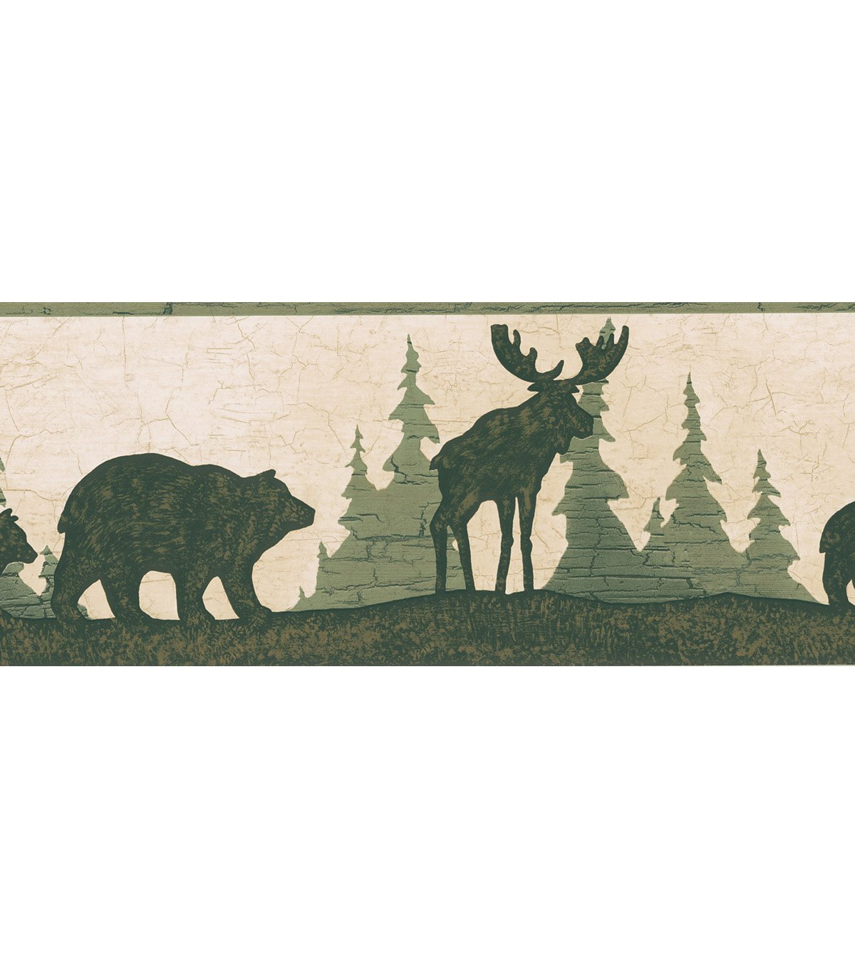 Great Woods Green Bear And Moose Silhouette Wallpaper Border Sample 1200x1360