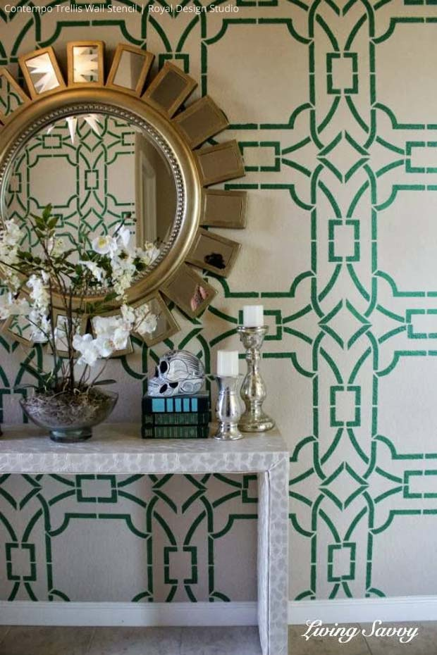 Living Savvy Contempo Trellis Wall Stencil by Royal Design Studio 620x930