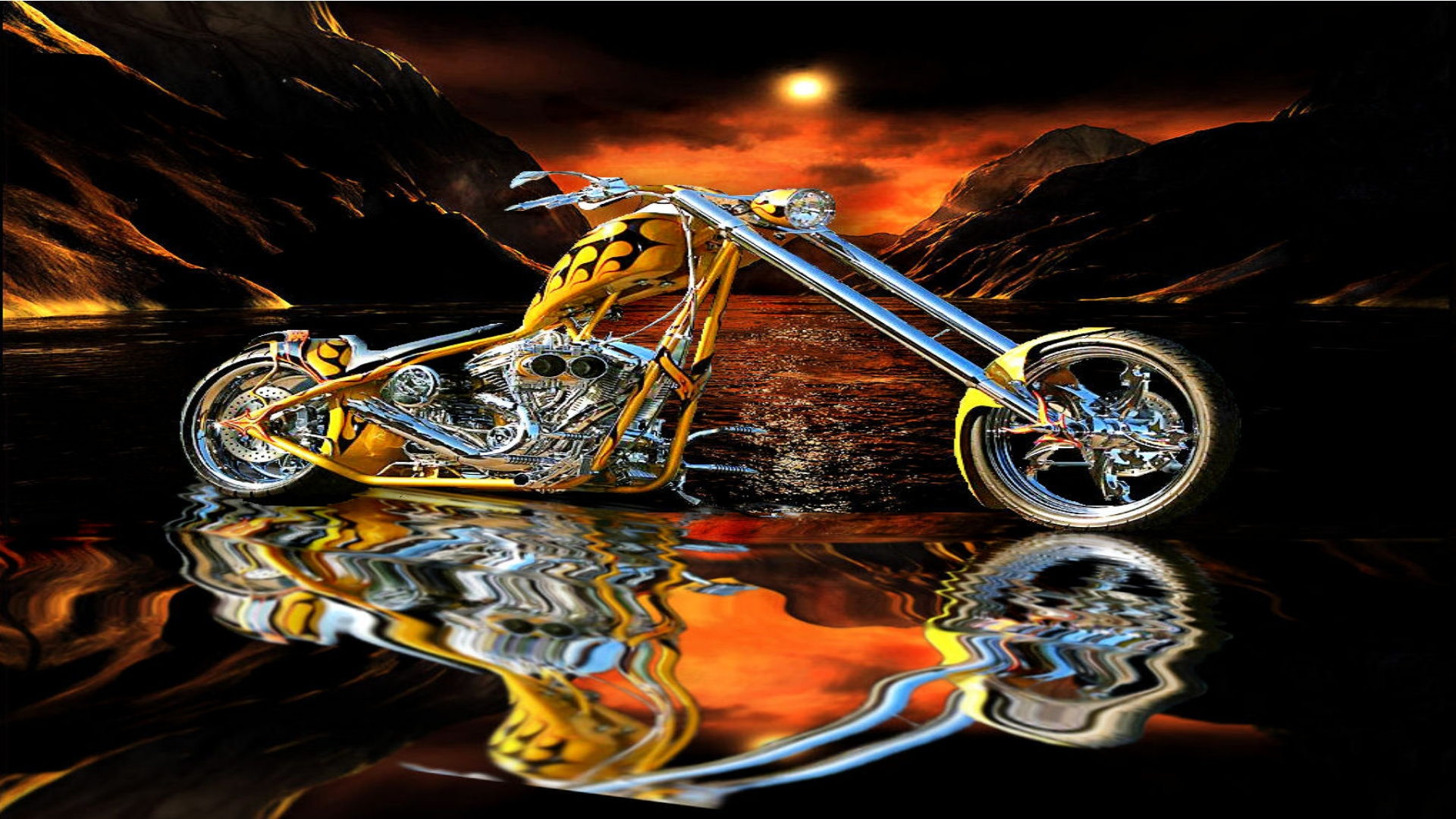 orange county choppers occ custom chopper hot rod rods bike 1920x1080