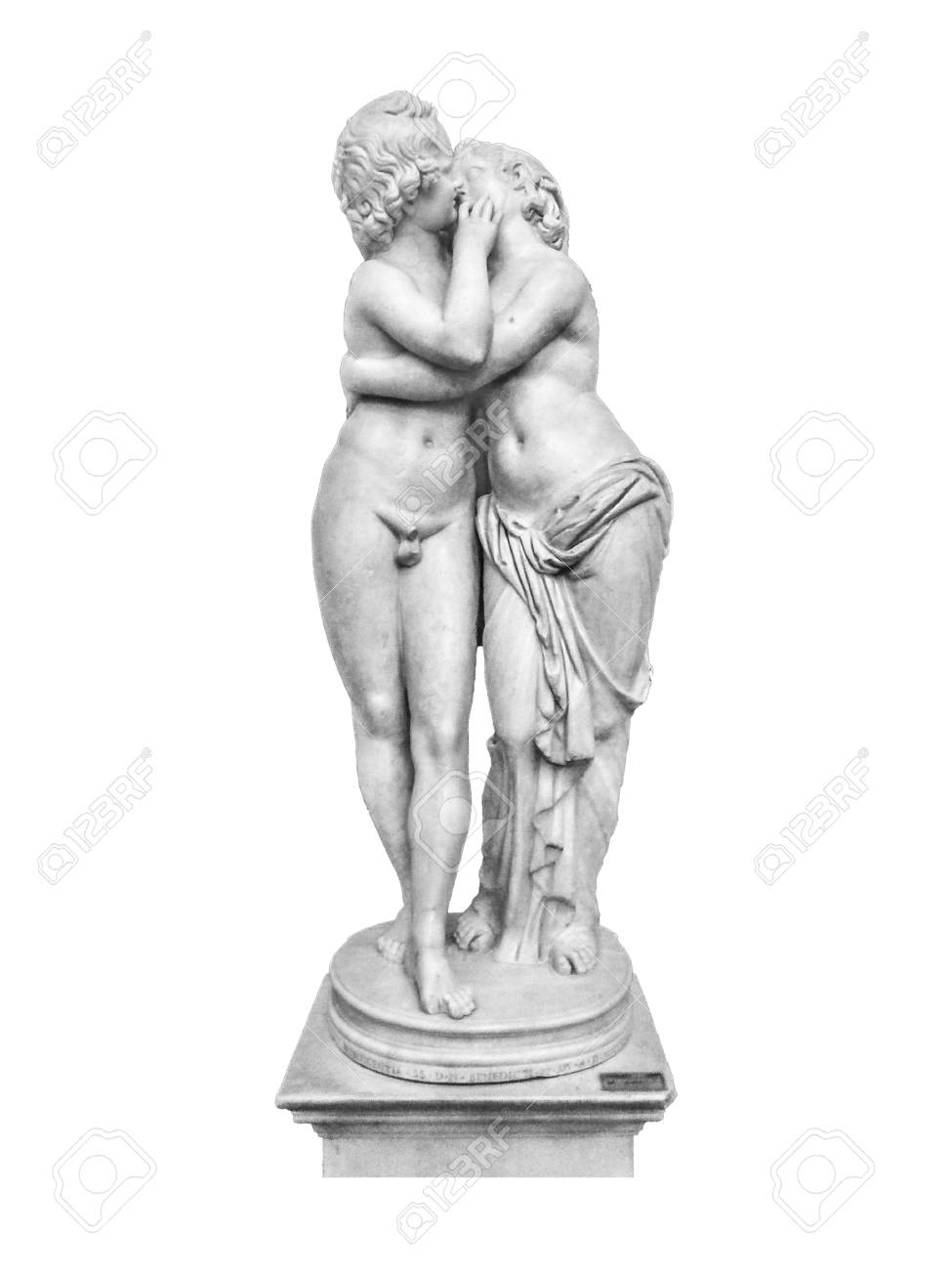 Famous Eros And Psyche Kissing Sculpture Isolated On White 975x1300