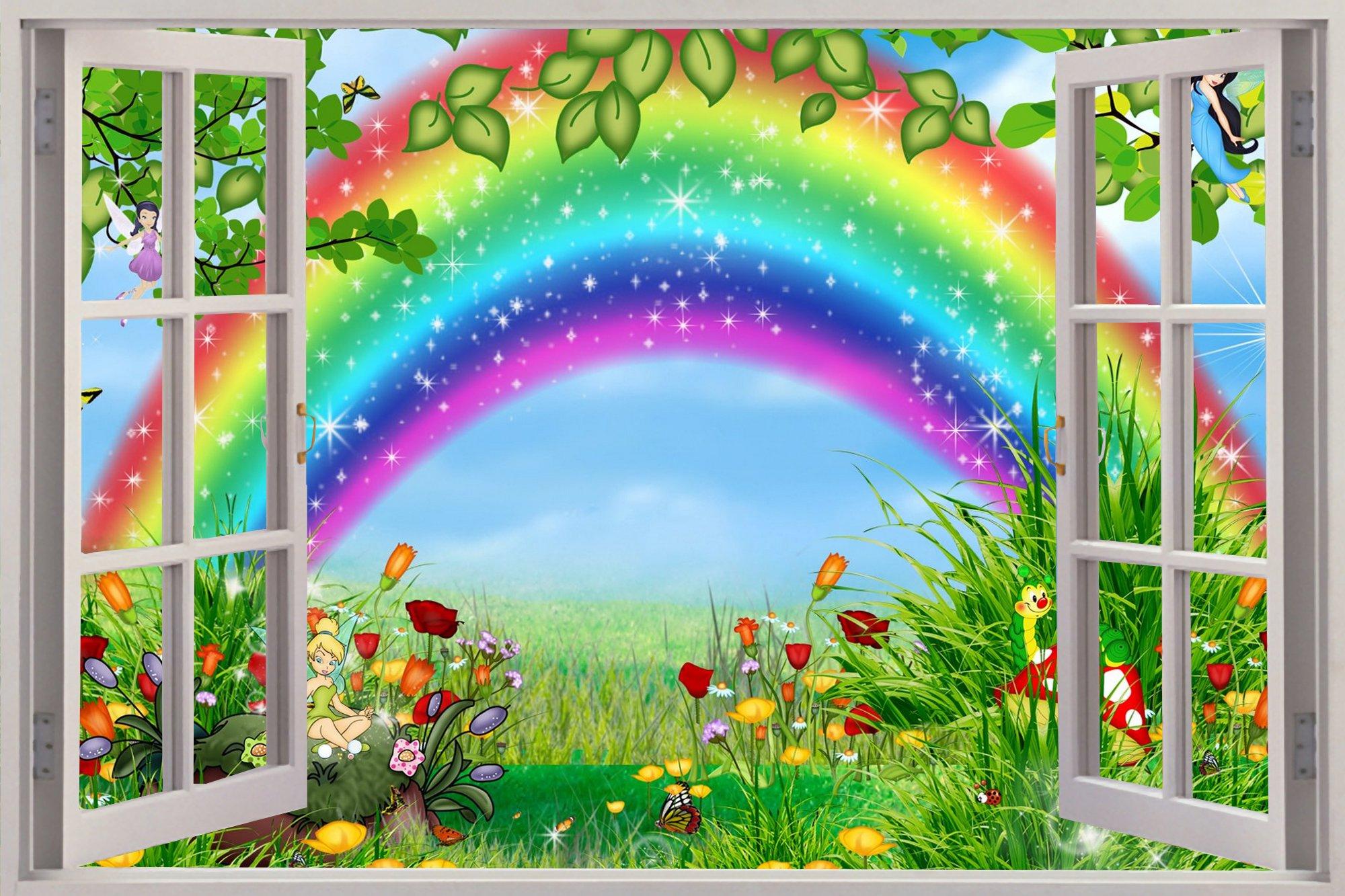wallpaper decal wallpapersafari window childrens fairytale rainbow view wall stickers