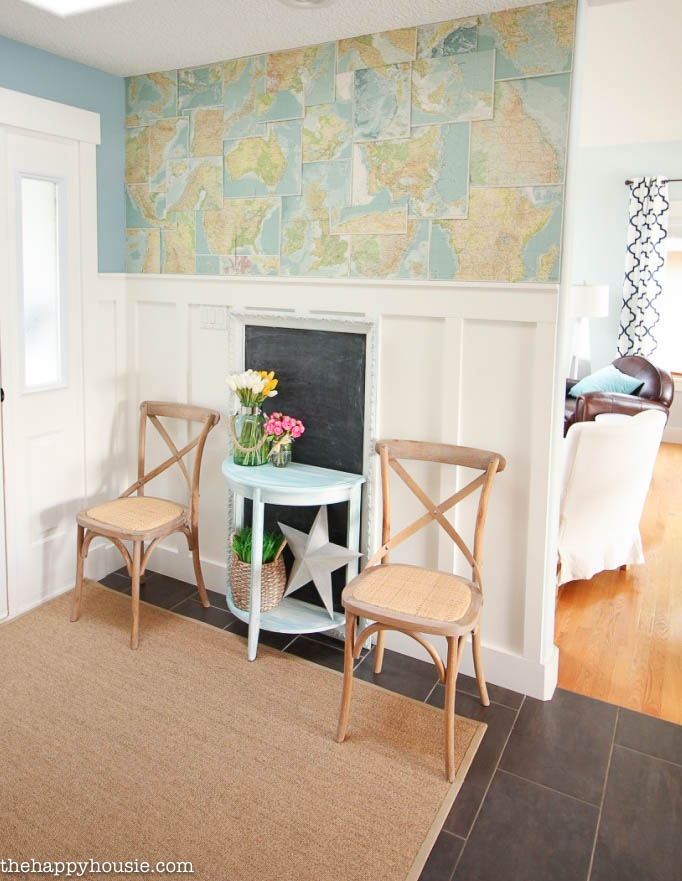 Tweaking the Entry Hall with DIY Faux Map Wallpaper The Happy Housie 682x881