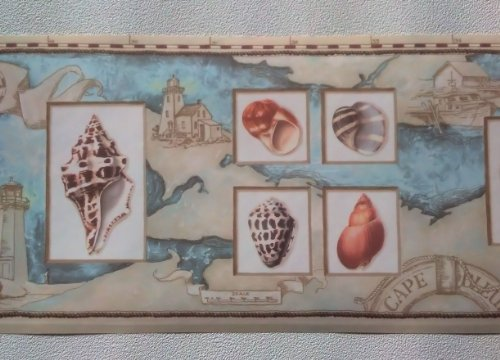 Rolling Borders Wallpaper Border Nautical Map Sea Shells Lighthouses 500x360
