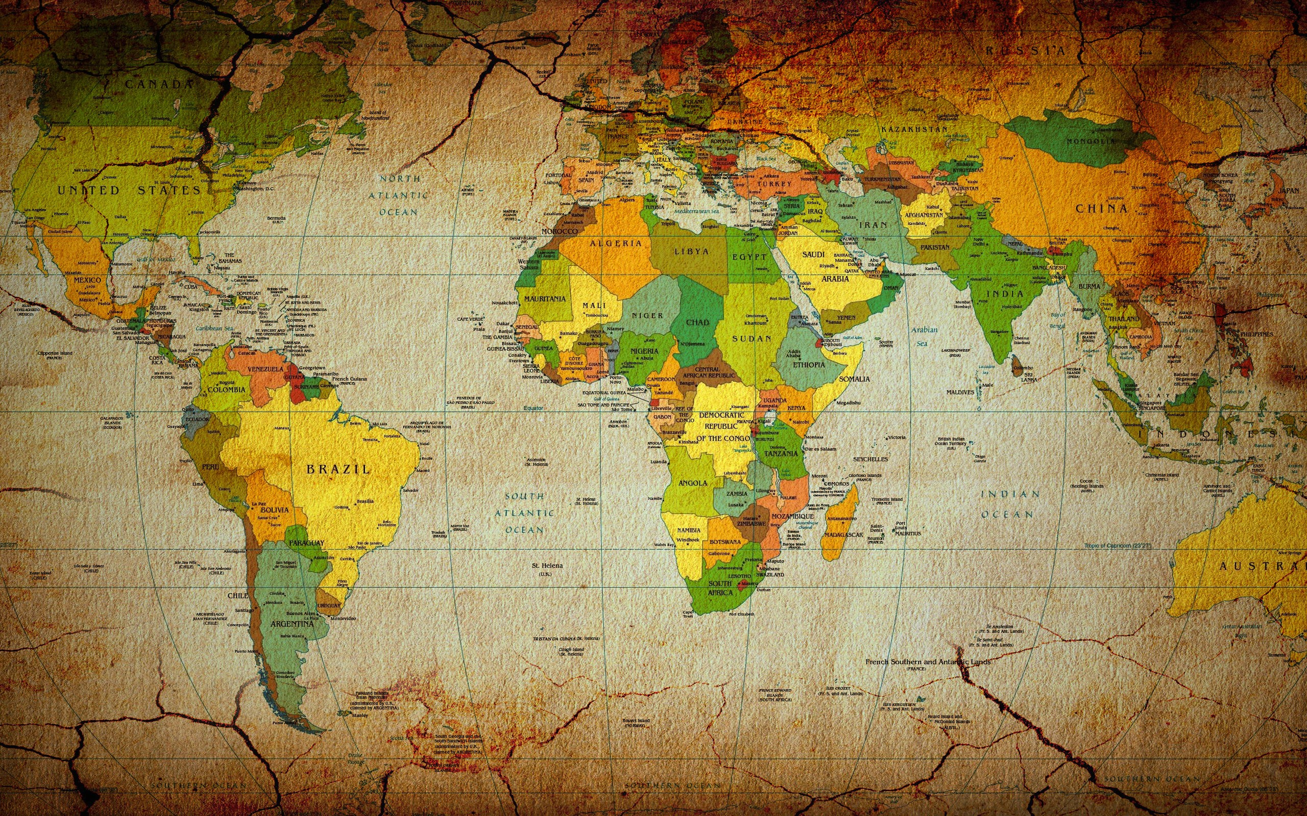 Maps countries continents world map wallpaper background 2560x1600