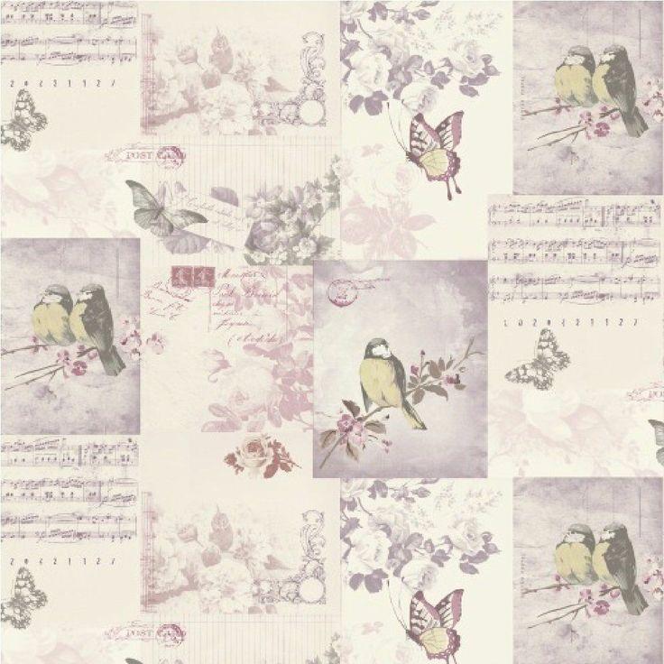 Shabby Chic Vintage Bird Cage Wallpaper Mauve Blue Pink Patchwork Love 736x736
