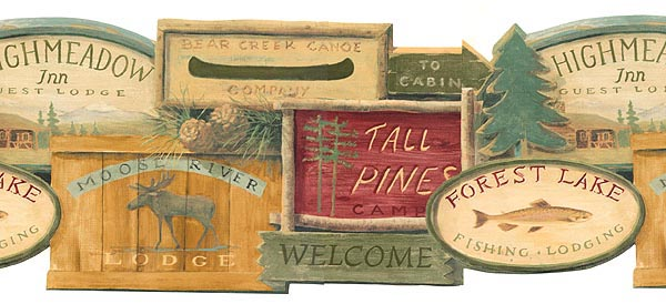 Lodge Signs Wallpaper Border WL5569B moose cabin fish rustic decor 600x274