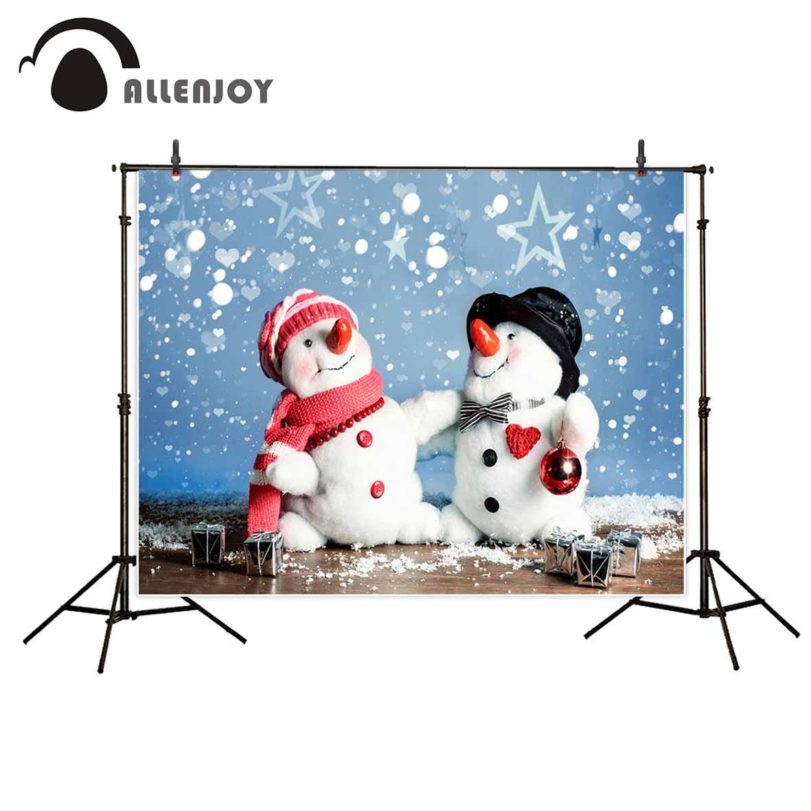 Allenjoy Baby lovely Snowmen Christmas Background Stars Wooden 1181x1181