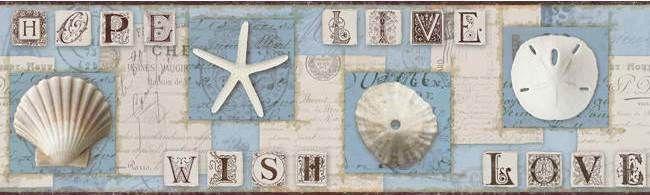 Interior Place   Blue Beach Journal Wallpaper Border 2999 http 650x195