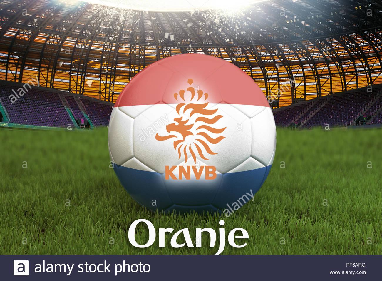 Oranje on Netherlands language on football team ball on big 1300x956
