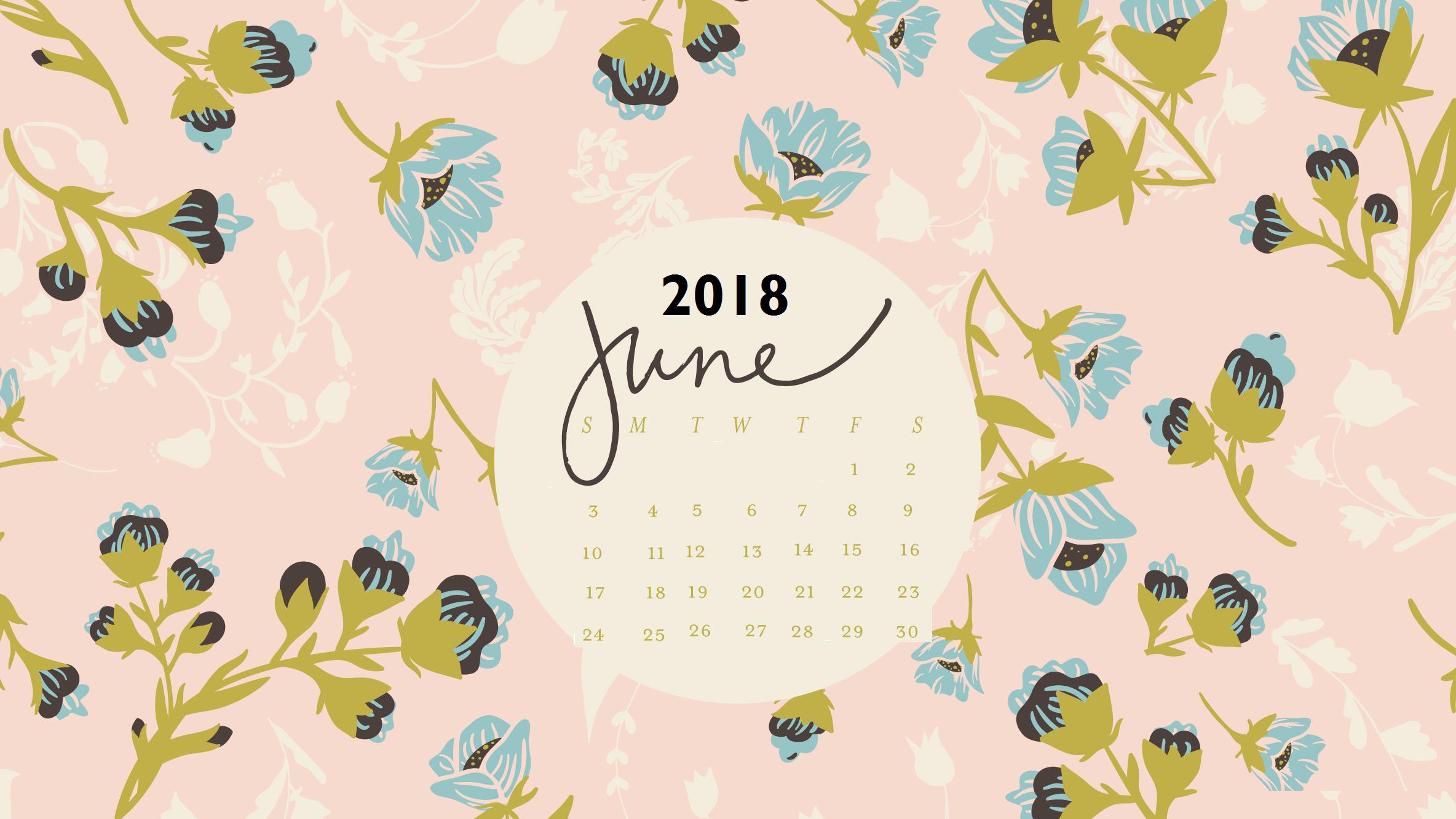 Floral June 2018 Wall Calendar 2368x1334
