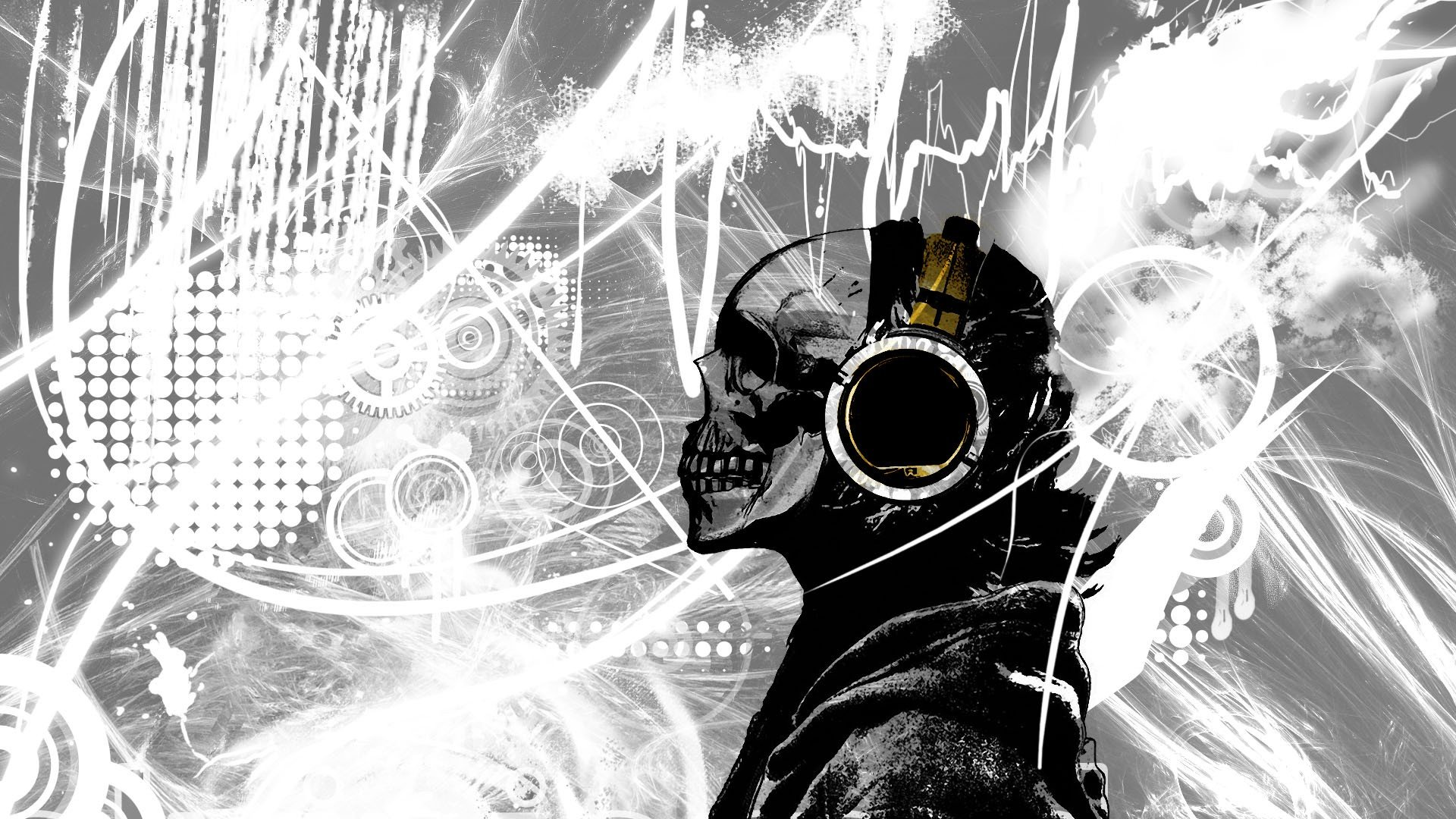 Sfondo Wallpaper Hd Skull Music   1920 x 1080   Hd Widescreen 1920x1080