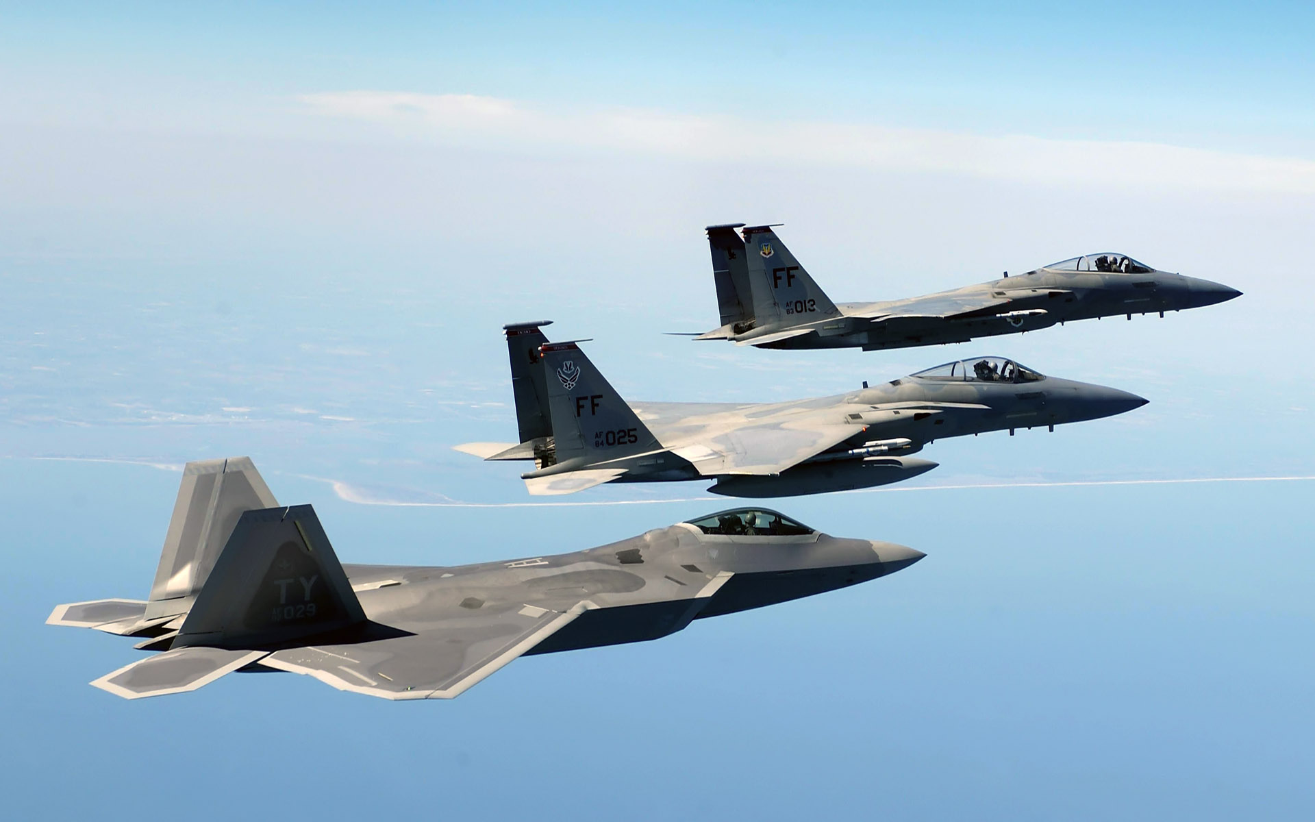 An FA 22 Raptor Two F 15 Eagles Wallpapers HD Wallpapers 1920x1200