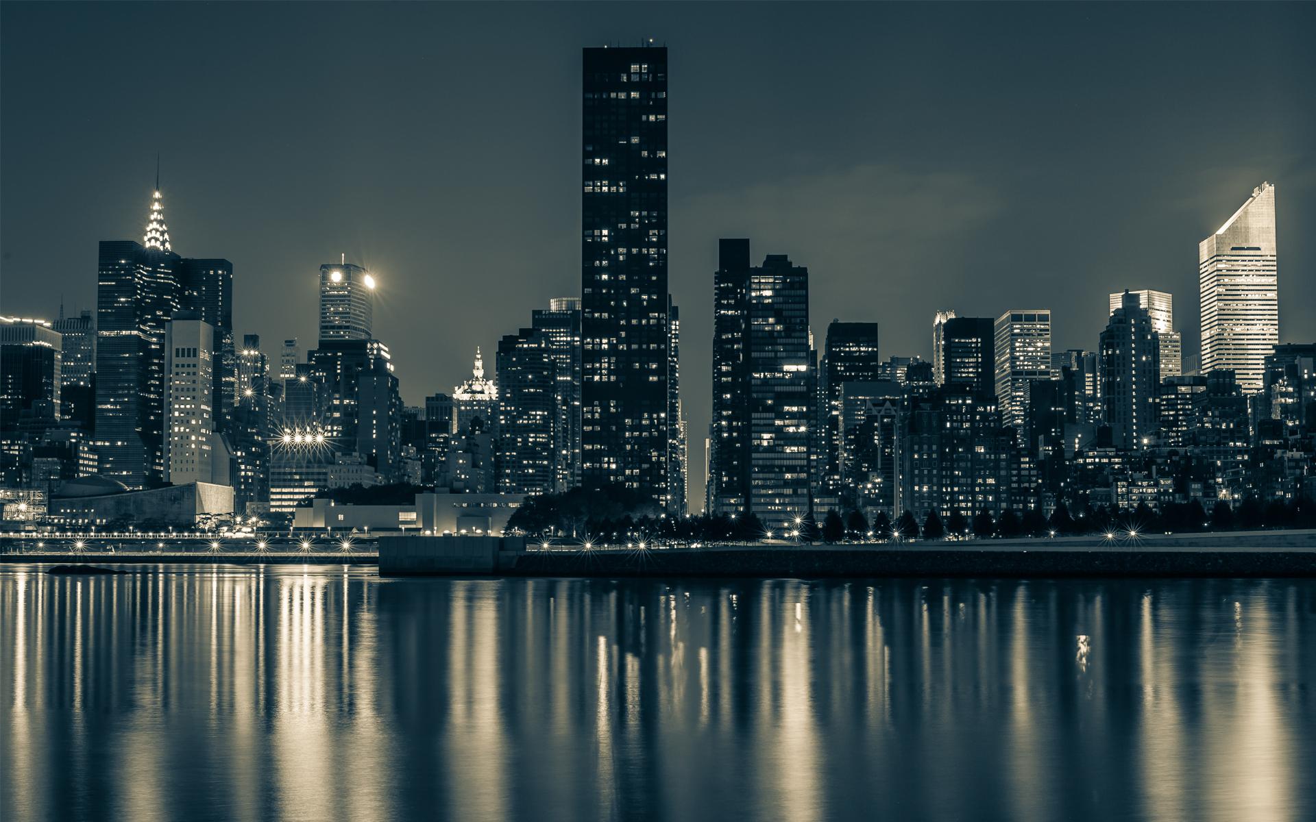 manhattan city new york new york city night water reflectionjpg 1920x1200