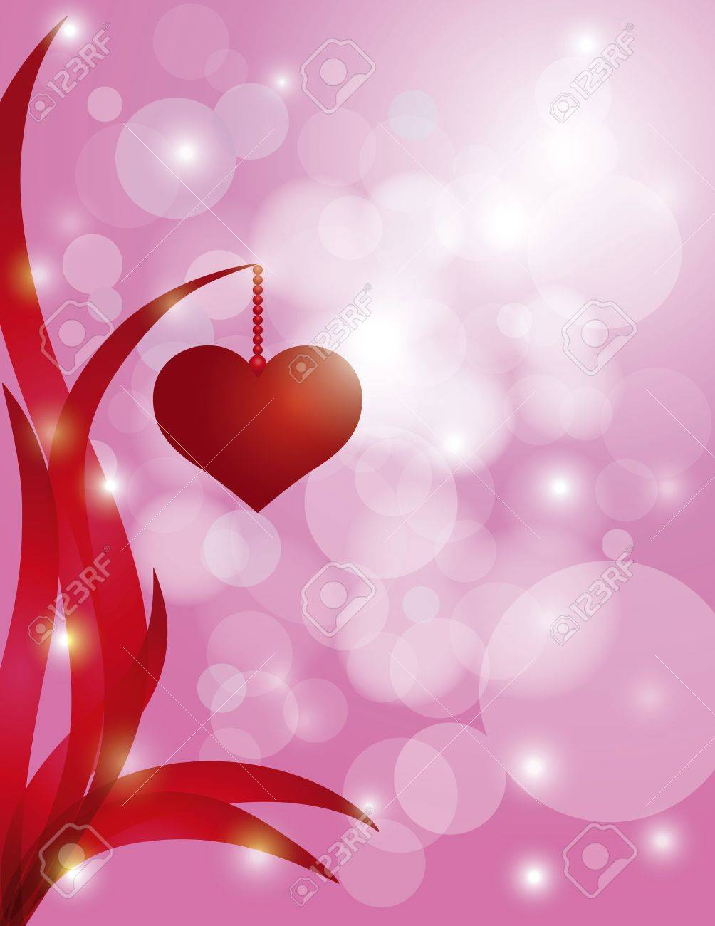Red Heart Hanging On Swirly Leaf On Sparkling Bokeh Pink 1004x1300