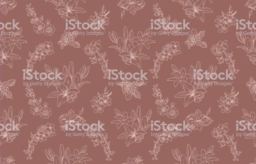 Lily Pattern Floral Ornament Toile De Jouy Seamless Background 1024x658