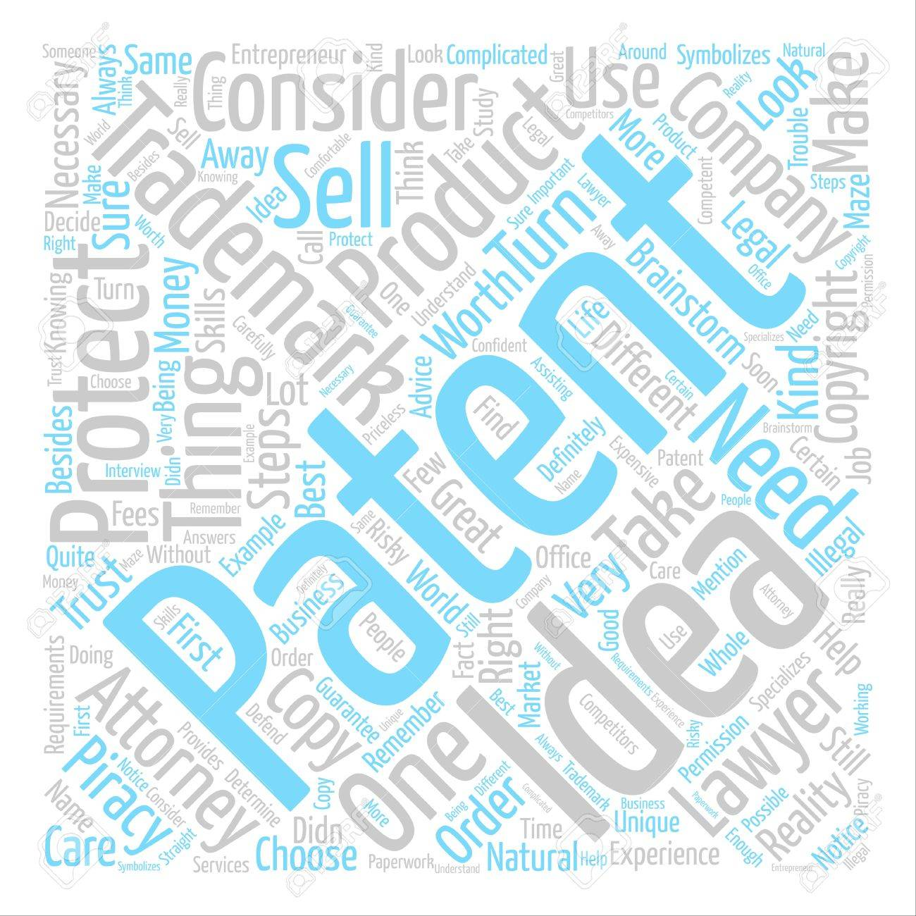 Attorney Trademark Patent Text Background Word Cloud Concept 1300x1300