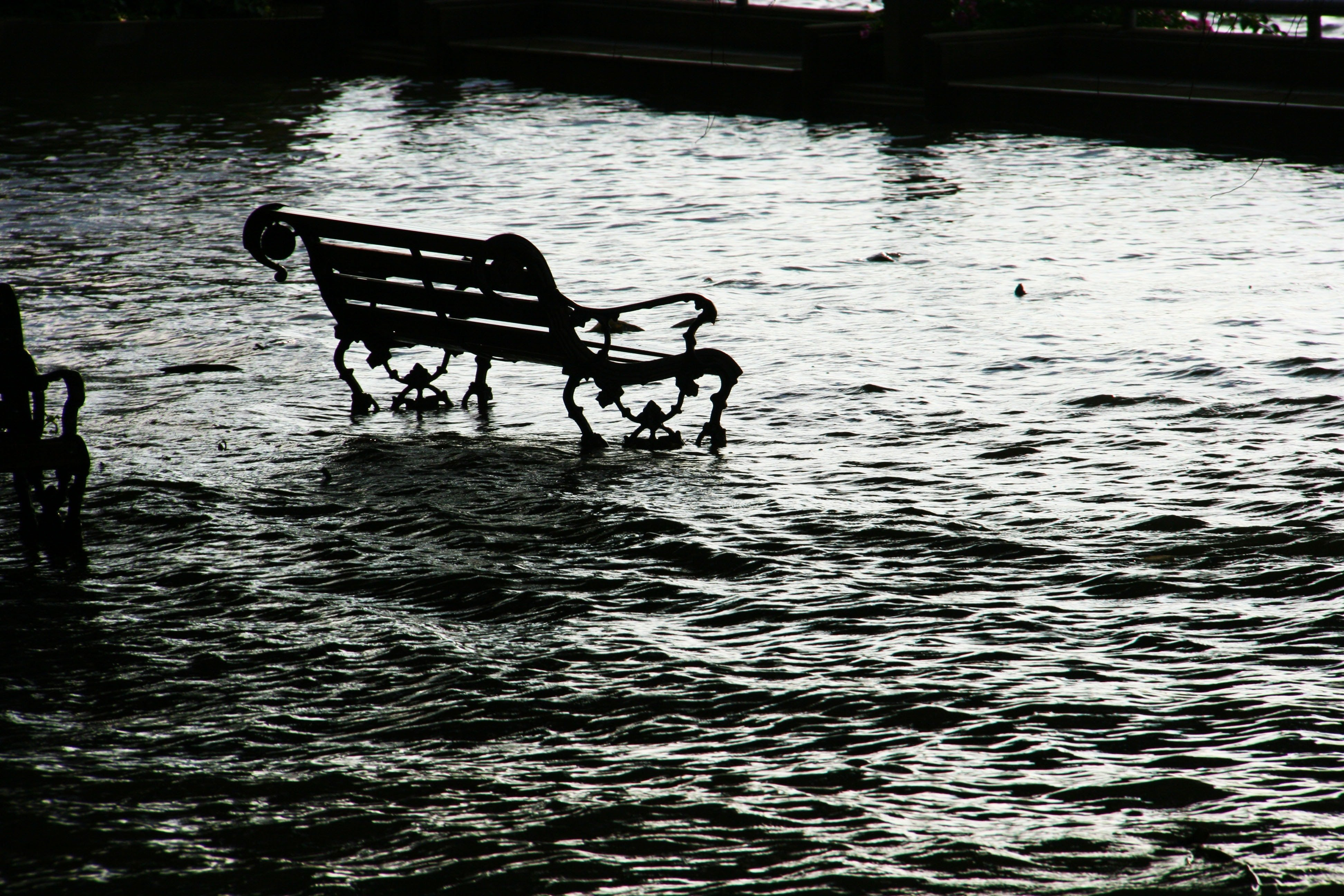 bench half submerged on water image Peakpx 3888x2592