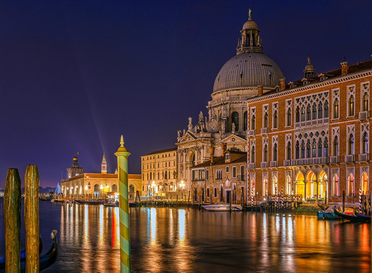 Photo Venice Italy Canal Marinas night time Cities Houses 1280x939