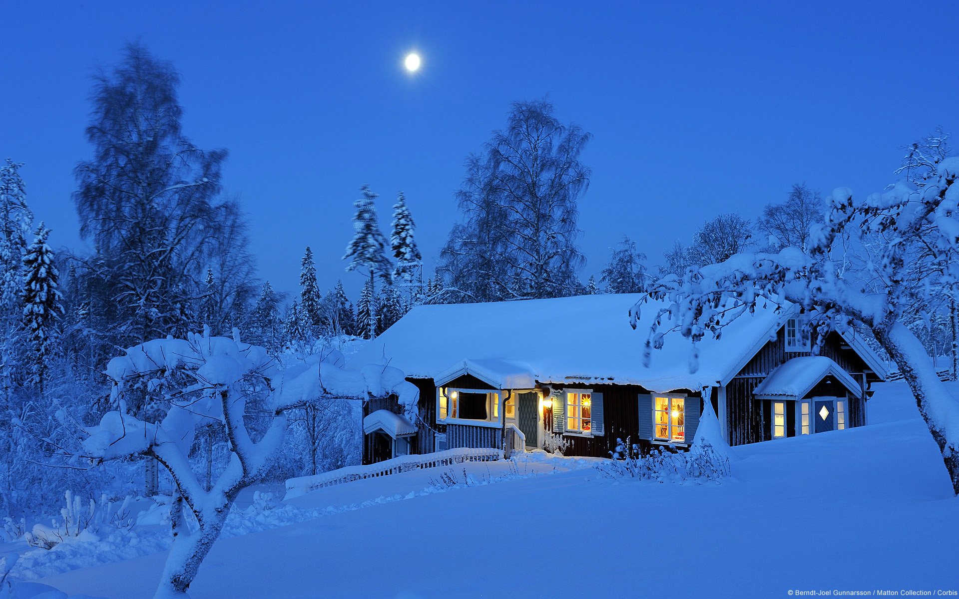 Country House in Winter Dalarna Sweden 1920x1200