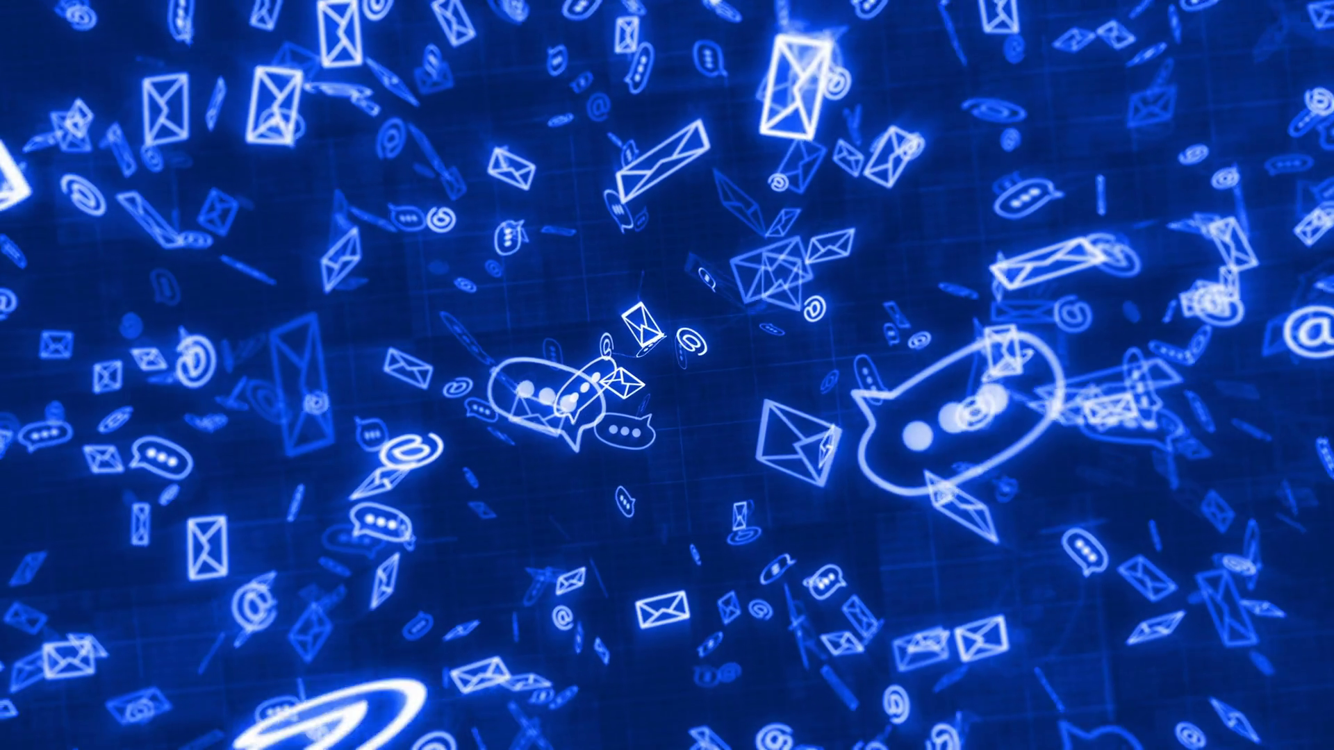 Social Media messaging on a dark blue background Sms E mail Chat 1920x1080