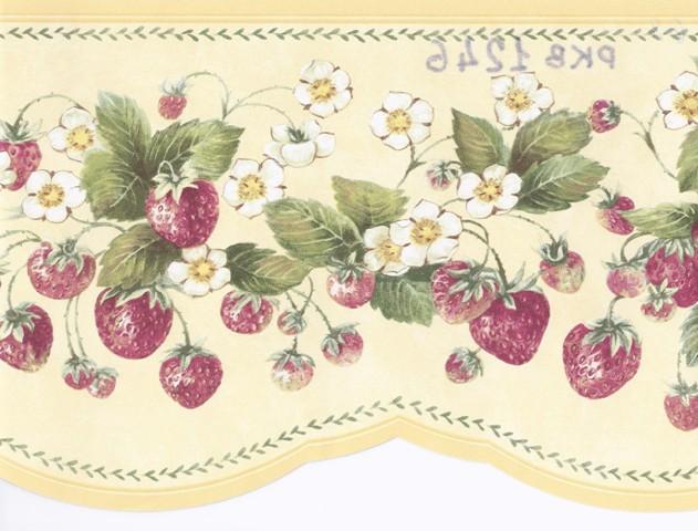 Yellow Strawberry Floral Wallpaper Border   Kitchen Bathroom 631x480