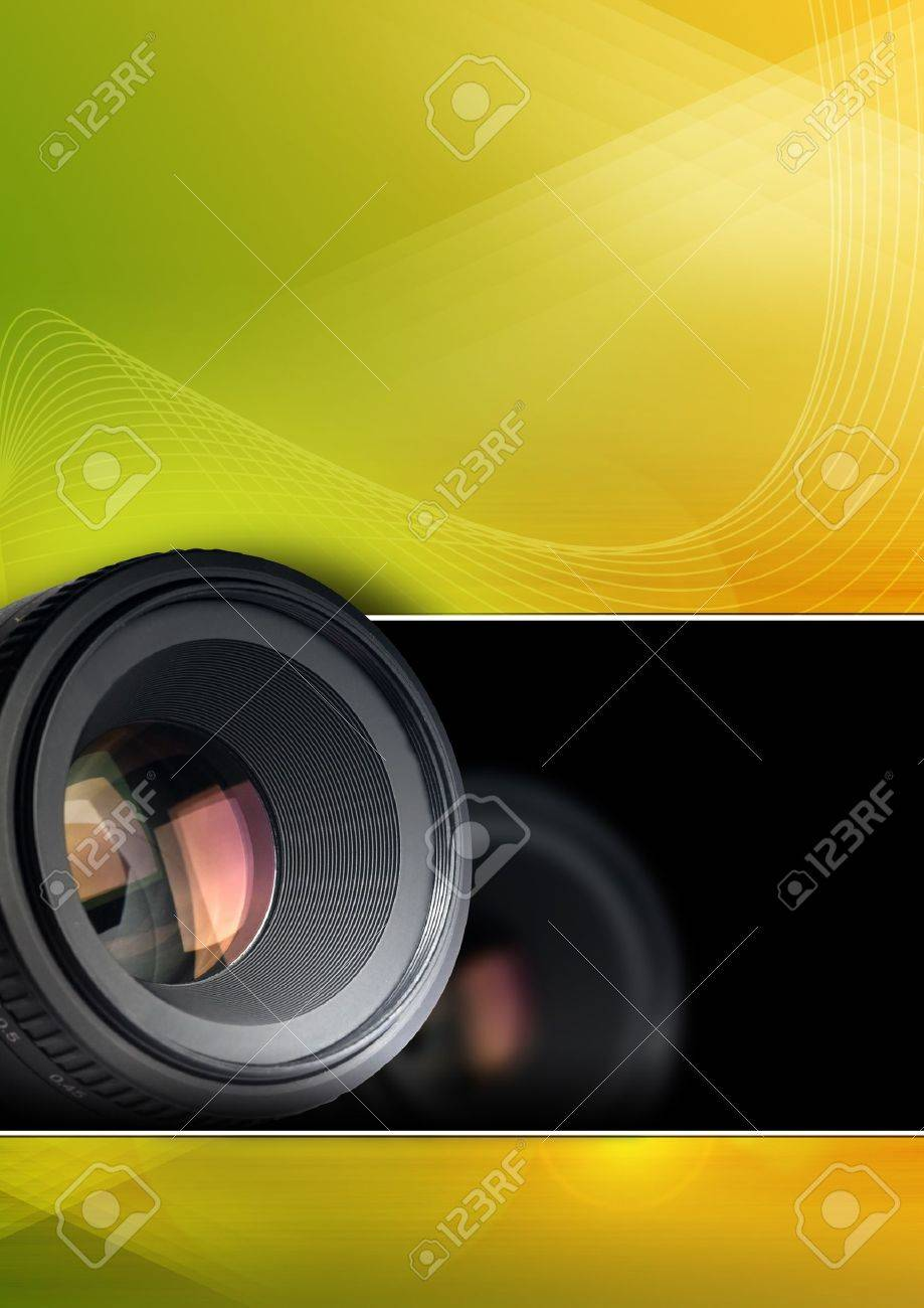 Colorful Photographic Background With Lens For Brochure Poster 919x1300