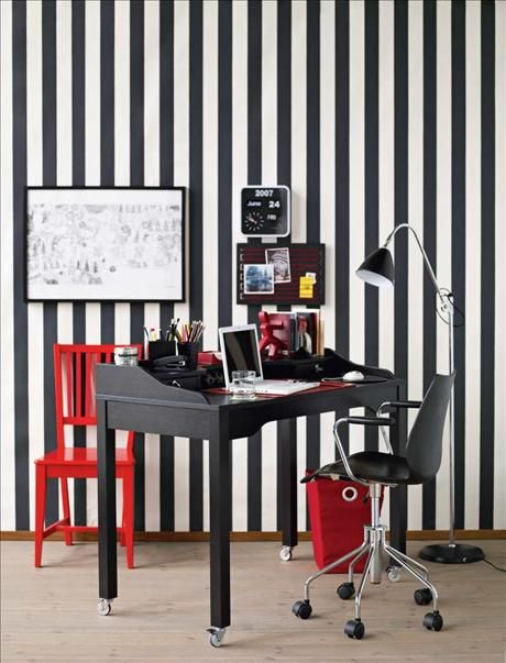 Home Office Design   Black and White pinstripe wallpaper wallpaper ho 460x603