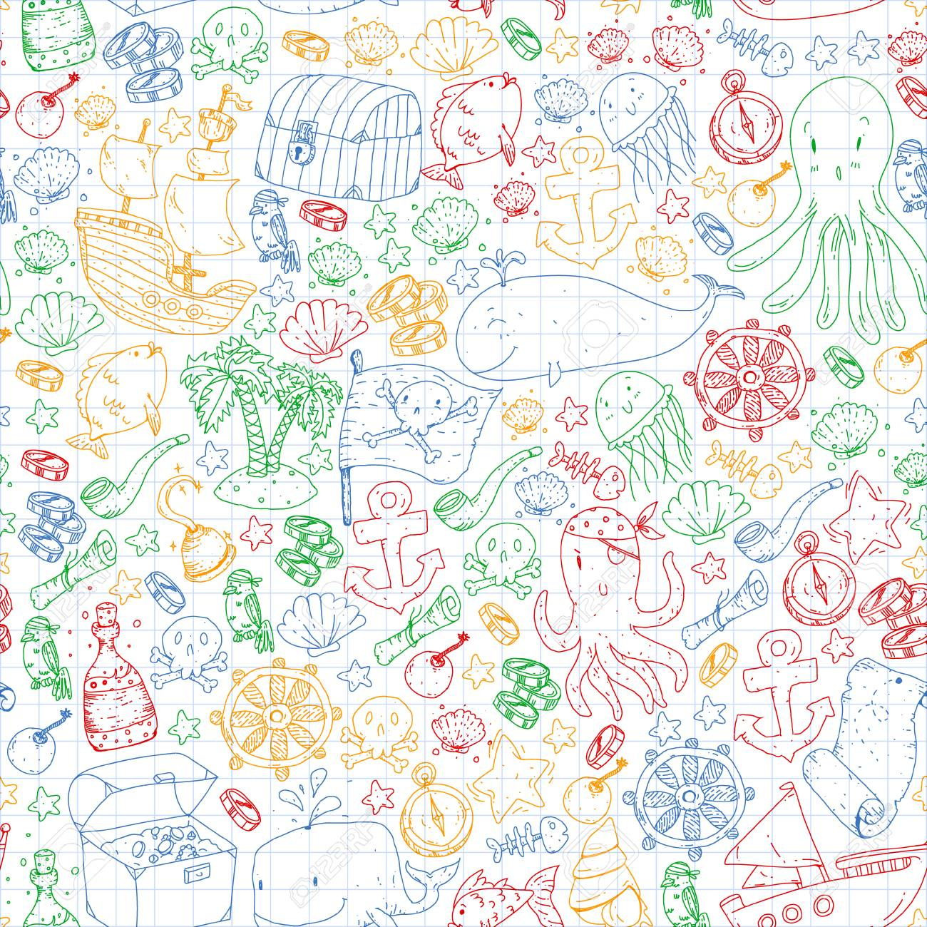 Vector Pirate Pattern For Small Boys And Girls Kindergarten 1300x1300