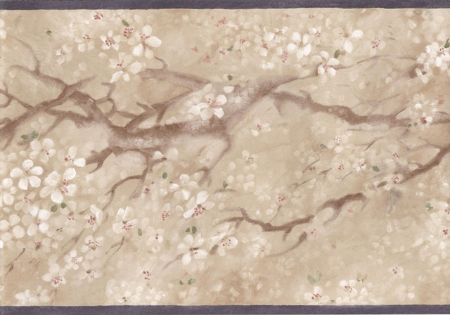 Black Beige Japanese Floral Wallpaper Border   Traditional   Wallpaper 640x448