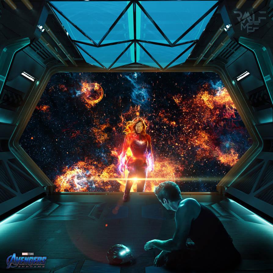 Avengers Endgame Captain Marvel Rescues Tony Stark by Ralfmef on 894x894