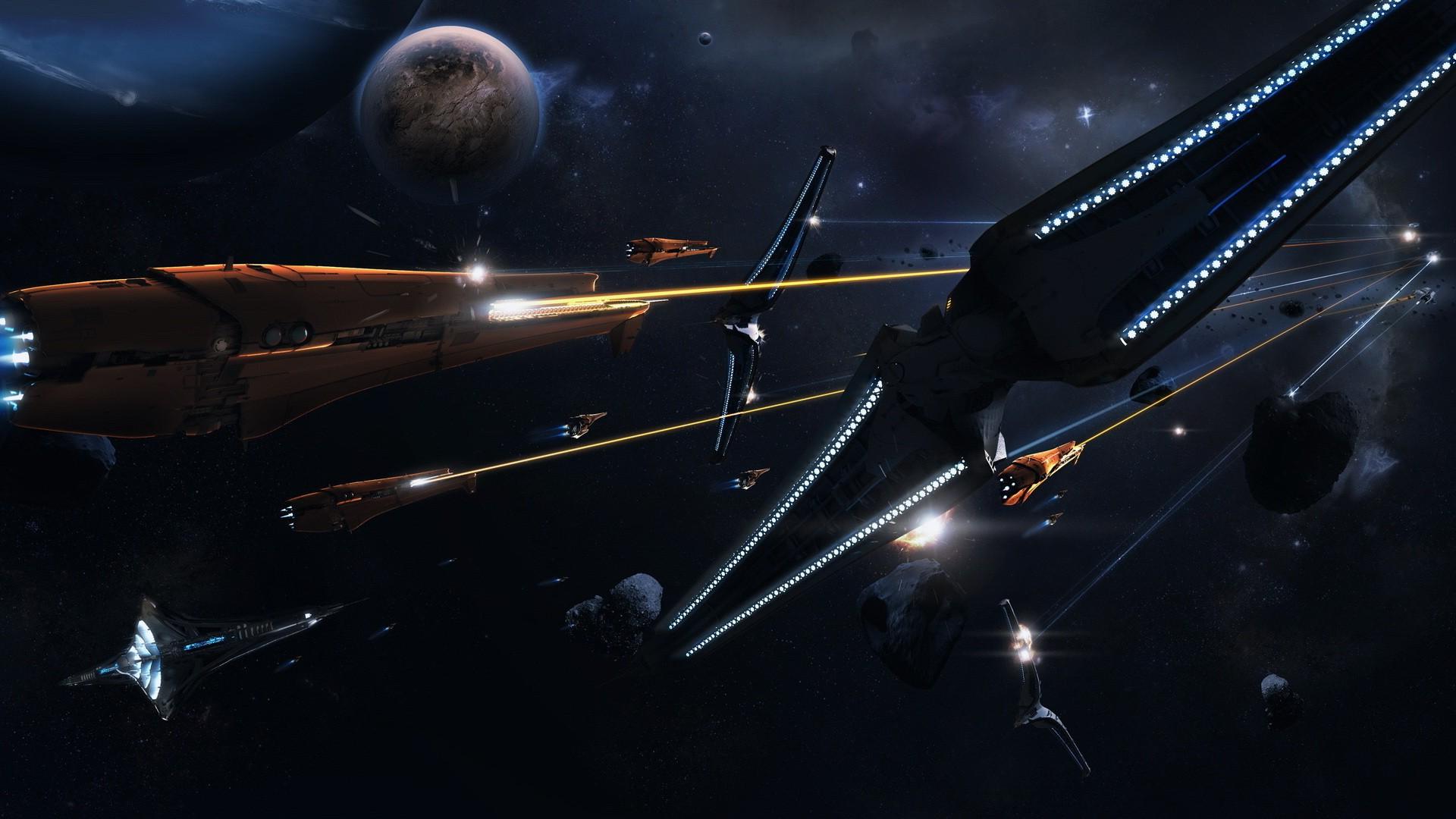 spaceship Artwork Digital Art Space War Stars Planet 1920x1080