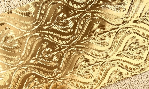 Foil Fashion Golden Silver Purple 3D Metallic Gold Wallpaper Embossing 600x360