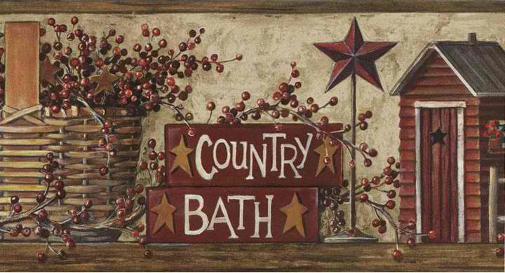 Brown Country Bath Wallpaper Border   Baby Nursery Kids 720x390