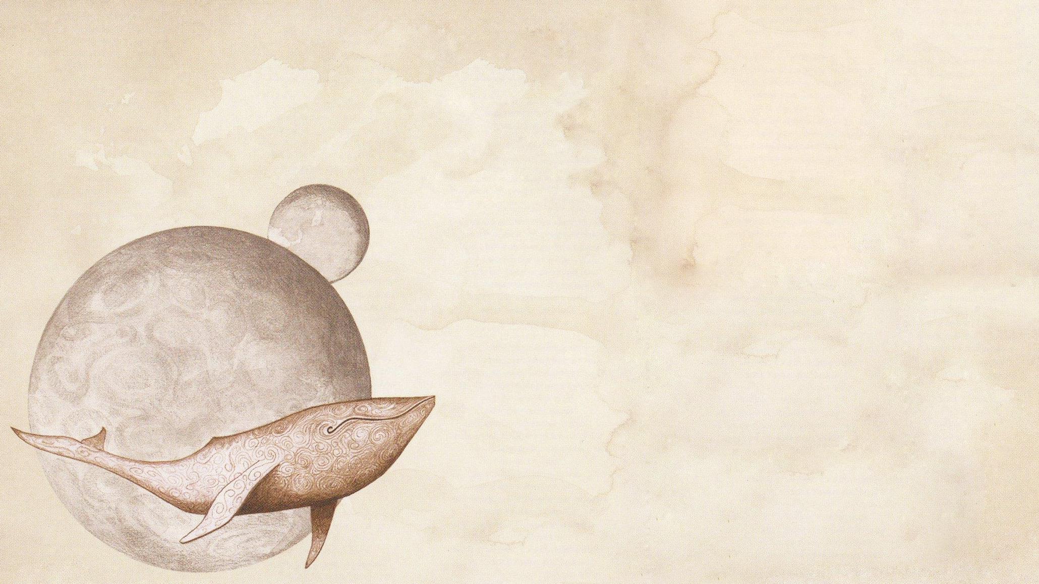 digital Art Universe Space Planet Minimalism Whale 2060x1158