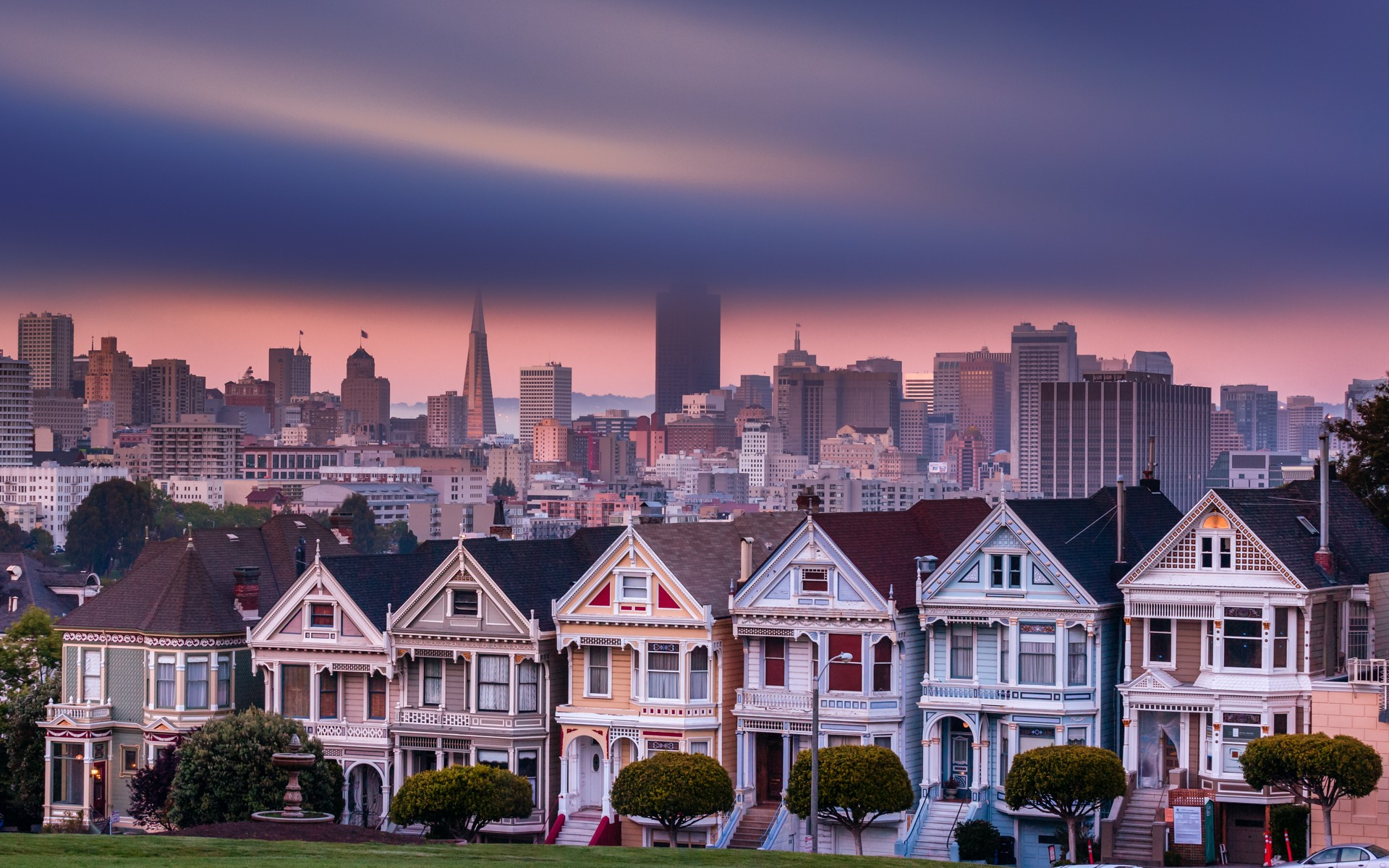 San Francisco city cities buildings building clouds houses house 1920x1200