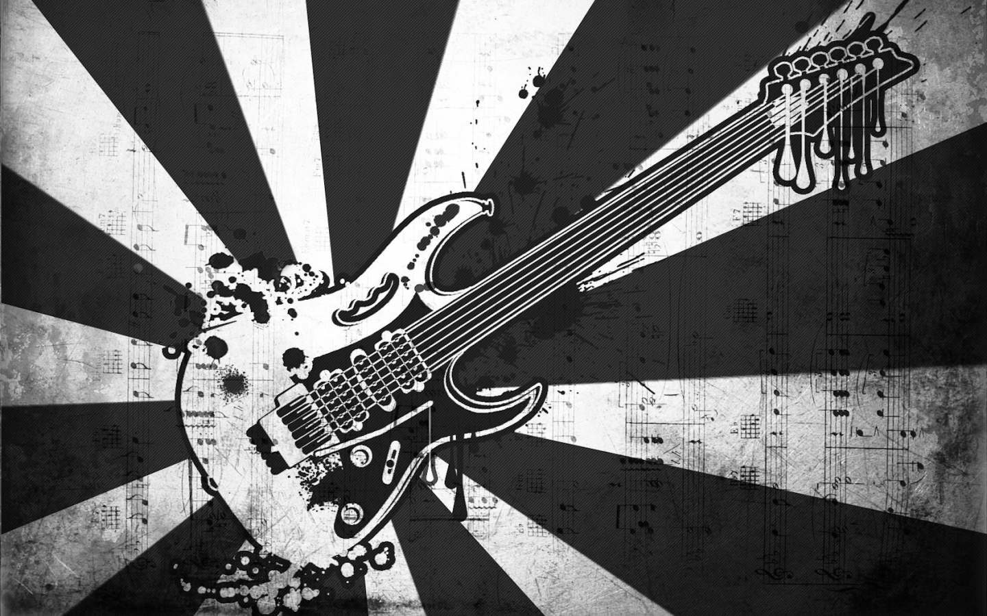 Black and White Guitar music wallpaper in 1440x900 resolution Music 1440x900