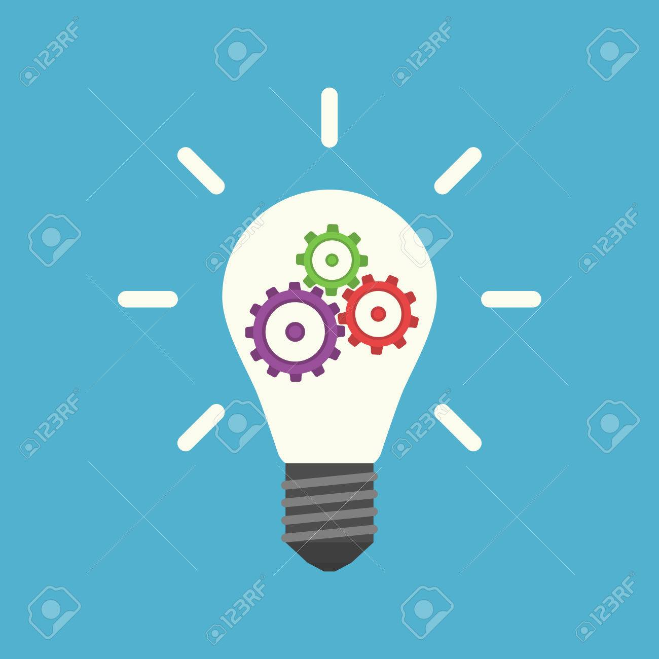 Light Bulb With Colorful Gears Inside Isolated On Blue Background 1300x1300