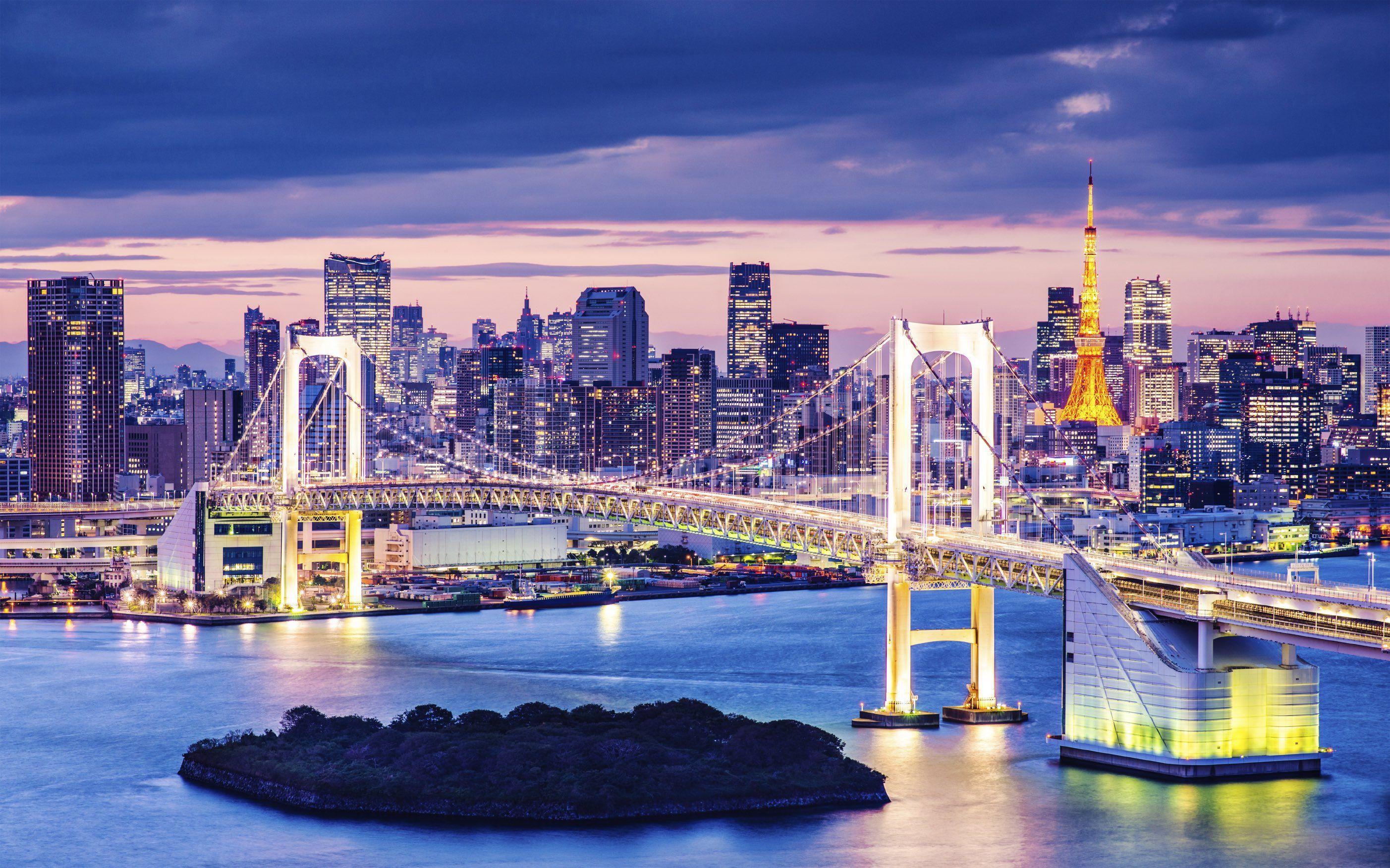 View of Rainbow Bridge and Minato from Odaiba in Tokyo Odaiba 2805x1752