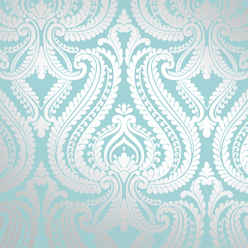 Wallpaper Shimmer Damask Metallic Feature Wallpaper Teal Silver eBay 1000x1000