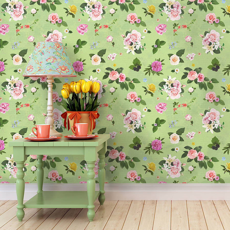 Free Download Self Adhesive Spring Green Floral Wallpaper By