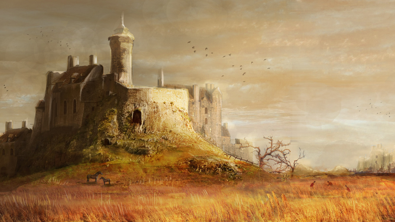 wallpapers medieval castle hill towers trees grass horses 1366x768