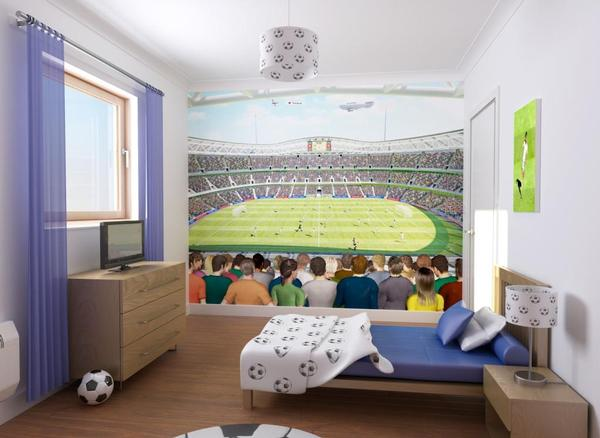 bedroom alive with this fantastic football stadium wallpaper mural 600x438