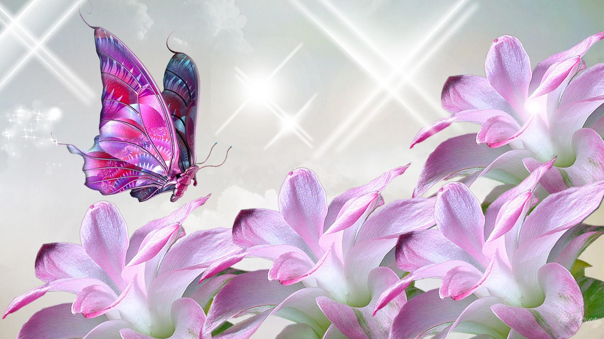Pink Butterfly And Flower Collage Hd Wallpaper Wallpaper List 1920x1080