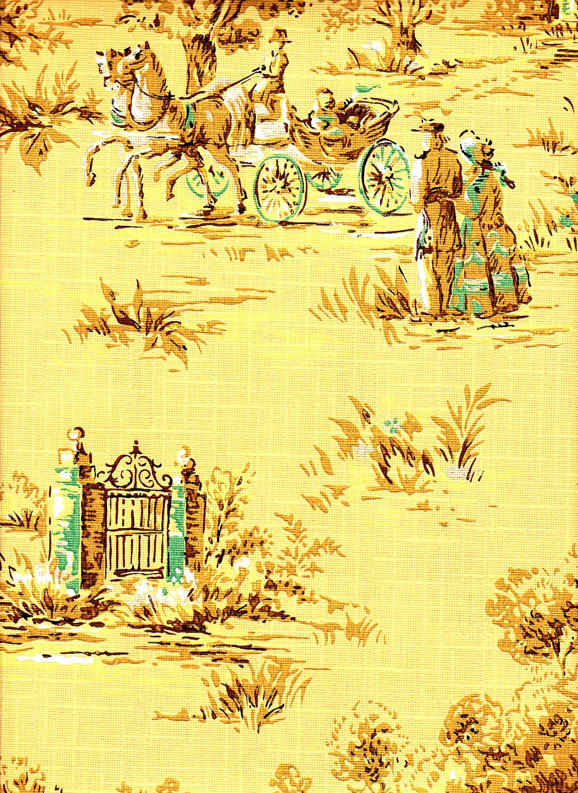 Two old fashioned scene patterns and the coordinating fabric swatch 1168x1600